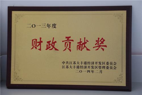 2013年财政贡献奖