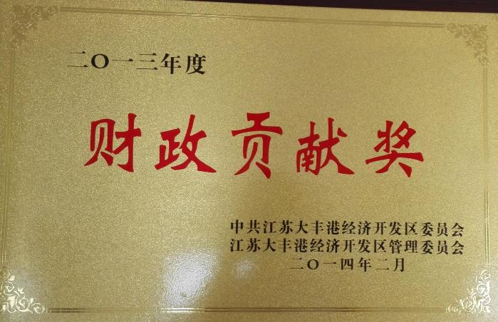 2013年度财政贡献奖